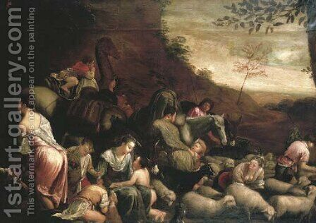 Jacob's journey by Jacopo Bassano (Jacopo da Ponte) - Reproduction Oil Painting