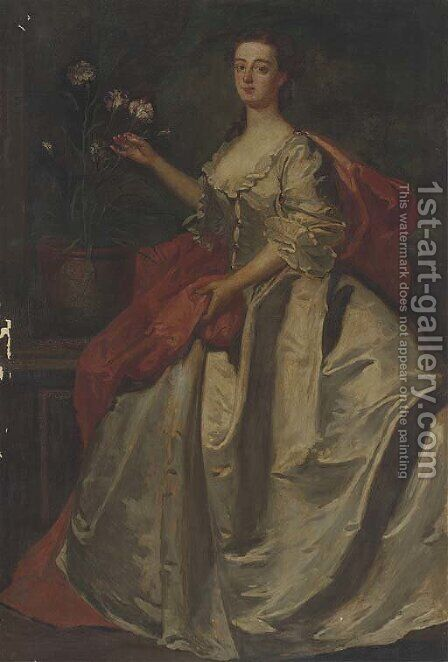 Portrait of Mary, wife of Edward Howard, 9th Duke of Norfolk, full-length, in a pale blue dress and red wrap by (after) James Latham - Reproduction Oil Painting