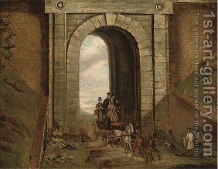 Highgate Tunnel by (after) James Pollard - Reproduction Oil Painting
