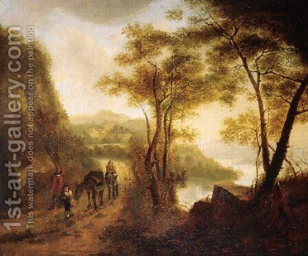 Travellers on a path overlooking a valley in an Italianate landscape by (after) Jan Both - Reproduction Oil Painting