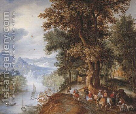 An extensive mountainous river landscape with horsemen and figures returning from the falconry, villages in the valley beyond by Jan The Elder Brueghel - Reproduction Oil Painting