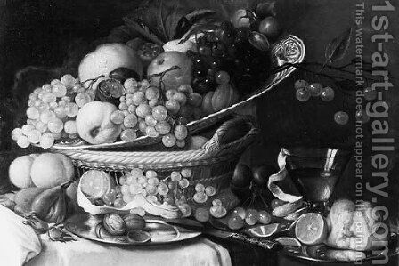 Grapes, A Peach, A Pomegranate, A Quinch And Walnuts On A Wan Li Dish On A Basket And A Peeled Orange, A Bun And Walnuts On Pewter Plates by (after) Jan Davidsz. De Heem - Reproduction Oil Painting