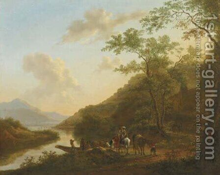 An Italianate river landscape with travellers by a ferry by (after) Jan Dirksz. Both - Reproduction Oil Painting