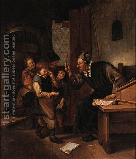 A Schoolmaster Punishing One Of His Pupils by Jan Steen - Reproduction Oil Painting