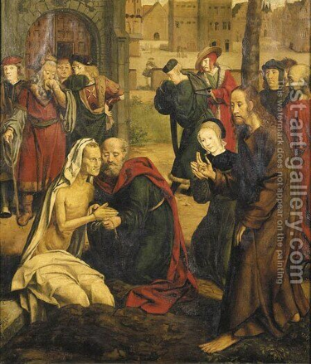 The Raising of Lazarus by (after) Jan Joest Van Calcar - Reproduction Oil Painting