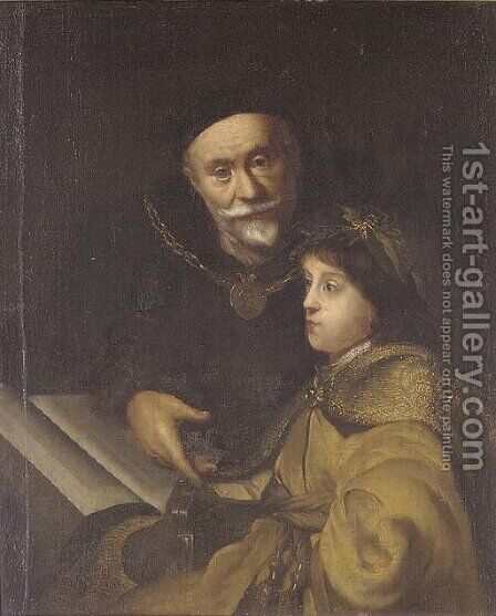 Prince Charles Louis of the Palatinate with his tutor Wolrad von Plessen by (after) Jan Lievens - Reproduction Oil Painting