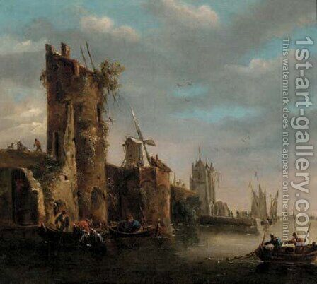 A canalside walled town with fishermen by (after) Jan Van Goyen - Reproduction Oil Painting