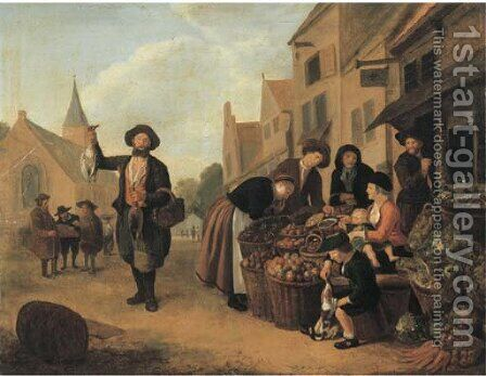 A vegetable market by (after) Jan Victors - Reproduction Oil Painting