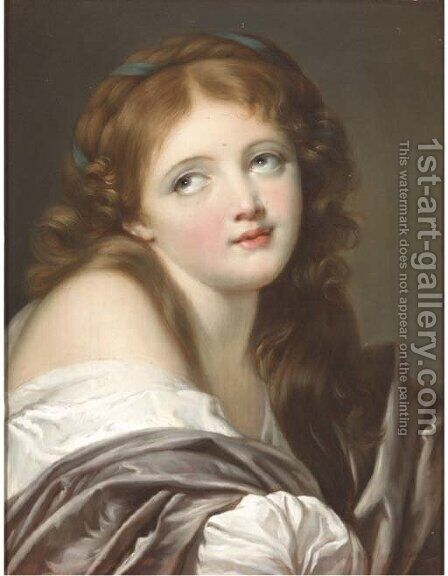 Portrait of a girl by (after) Jean Baptiste Greuze - Reproduction Oil Painting