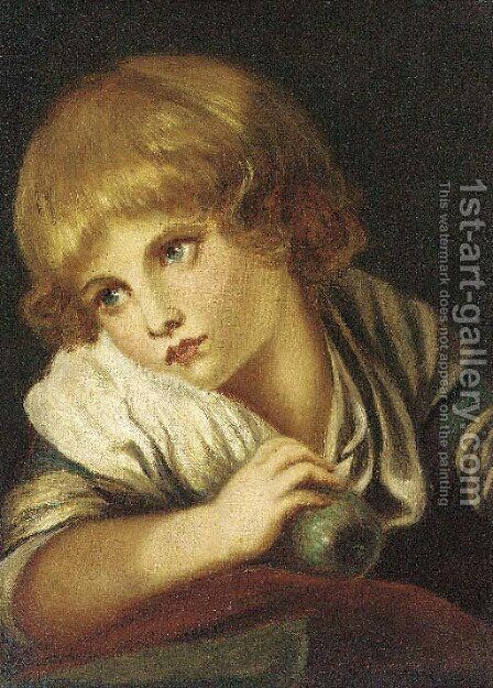 The child with an apple by (after) Jean Baptiste Greuze - Reproduction Oil Painting