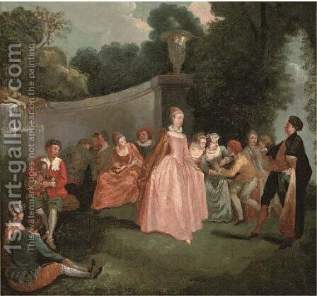 Les fete venitiennes by Jean-Antoine Watteau - Reproduction Oil Painting