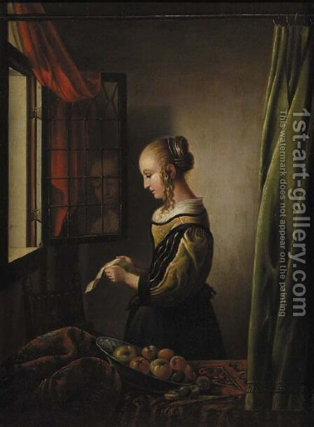 A girl reading a letter at an open window by (after) Johannes Vermeer - Reproduction Oil Painting