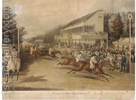 Grand Stand, Ascot, (Gold Cup Day 1839) by (after) John Frederick Herring - Reproduction Oil Painting