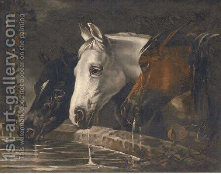 Three horses at a water trough by (after) Herring Snr, John Frederick - Reproduction Oil Painting