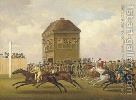 Sir H.T. Vane's Hambletonian beating Mr. Cookson's Diamond in the Match for 3,000 Guineas, Beacon Course, Newmarket Craven Meeting, 1799 by (after) John Nost Sartorius - Reproduction Oil Painting