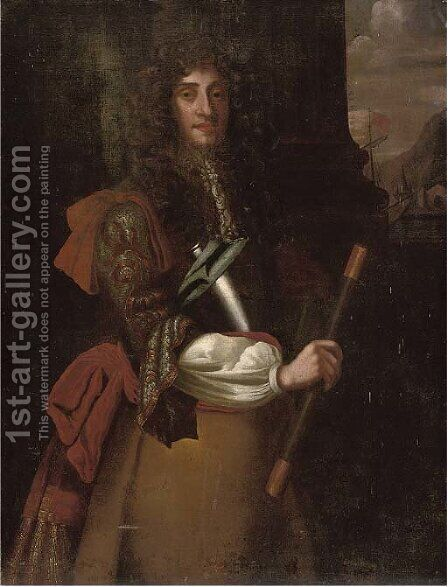 Portrait of James II (1633-1701), three-quarter-length, a telescope in his right hand, with ships beyond by (after) John Riley - Reproduction Oil Painting