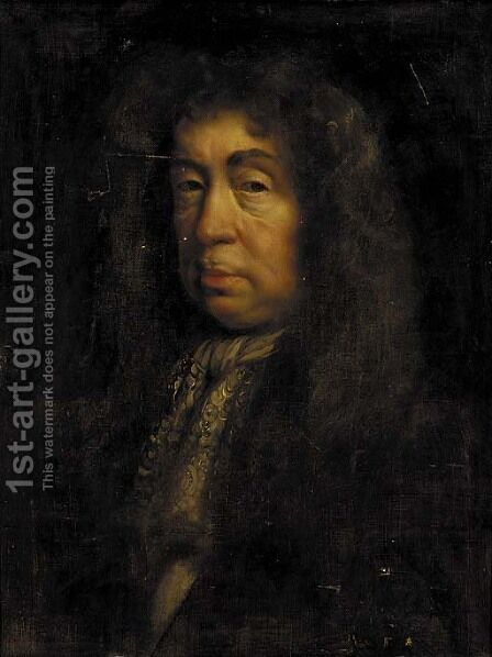 Portrait of the Duke of Layderdale, half-length, in a dark coat and lace jabot by (after) John Riley - Reproduction Oil Painting