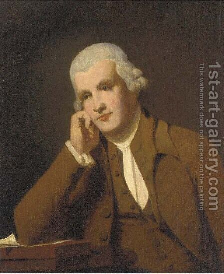 Portrait of Jedidiah Strutt (1726-1797), half-length, in a brown coat and waistcoat, resting his elbow on a manuscript by (after) Wright, Joseph - Reproduction Oil Painting