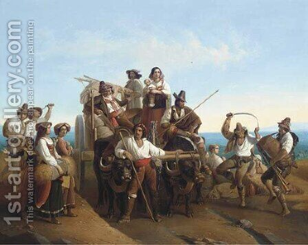 Arrivee Des Moissonneurs Dans les Marais Pontins by (after) Louis-Leopold Robert - Reproduction Oil Painting