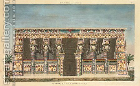 Denderah (Tentyris) -- Vue perspective de la facade de portique de Grand Temple, from Description de L'egypte by Leisnier by (after) Le Pere - Reproduction Oil Painting