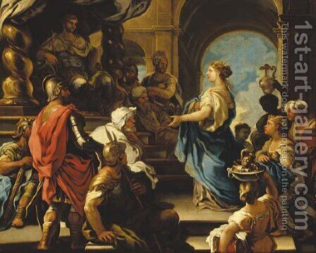 The Queen of Sheba offering gifts to King Solomon by (after) Luca Giordano - Reproduction Oil Painting