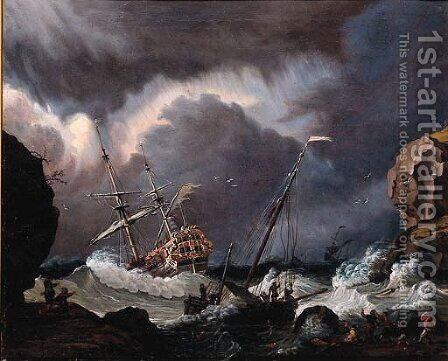 A Calm A Dutch Stateyacht Firing A Salute At The Entrance Of A Harbour by (after) Ludolf Backhuyzen - Reproduction Oil Painting