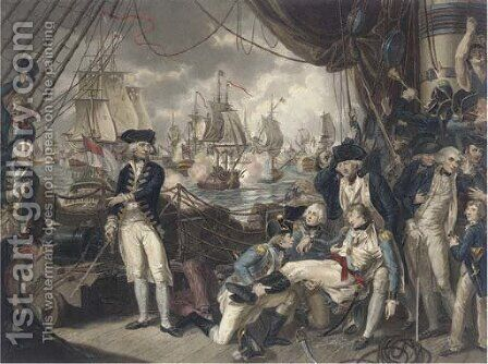 The celebrated victory obtained by the British fleet under the command of Earl Howe over the French fleet on the Glorious First of June, 1794, by D. O by Mather Brown - Reproduction Oil Painting