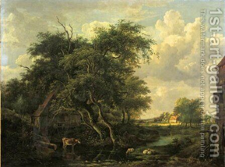 A watermill in a wooded landscape in summer by (after) Meindert Hobbema - Reproduction Oil Painting