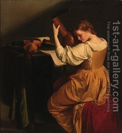 A woman tuning a lute, seated at a draped table with open manuscripts, a violin and wind instruments by (after) Orazio Gentileschi - Reproduction Oil Painting