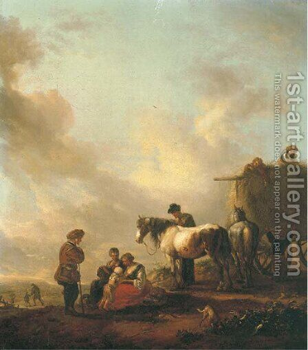 Figures resting before a haycart by (after) Philips Wouwerman - Reproduction Oil Painting