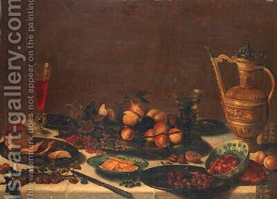 Pears, apples, apricots, prunes, cranberries, blueberries, cherries and strawberries on pewter plates, butter on a wan-li dish by (after) Pieter Claesz - Reproduction Oil Painting