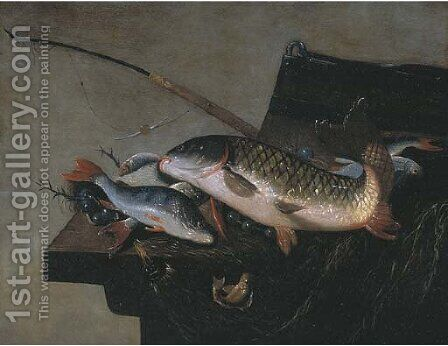 A carp by (after) Pieter Van Noort - Reproduction Oil Painting