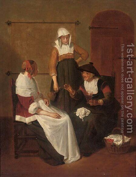 Elegant company in an interior by (after) Quirin Gerritsz. Van Brekelenkam - Reproduction Oil Painting