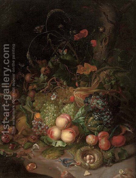 Apples, pears, grapes, corn, pomegranates, a birds nest with eggs, butterflies, a lizard and other insects in a wooded clearing by (after) Rachel Ruysch - Reproduction Oil Painting