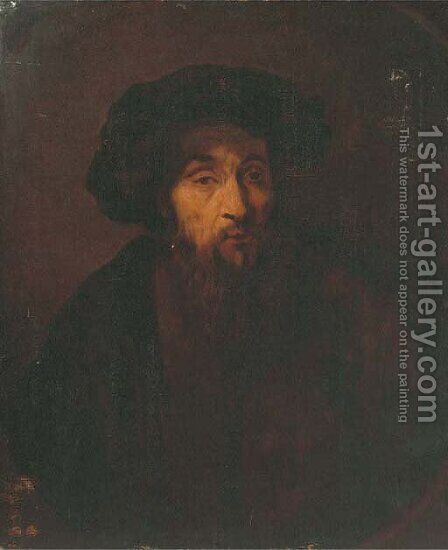A bearded man by (after) Rembrandt Van Rijn - Reproduction Oil Painting