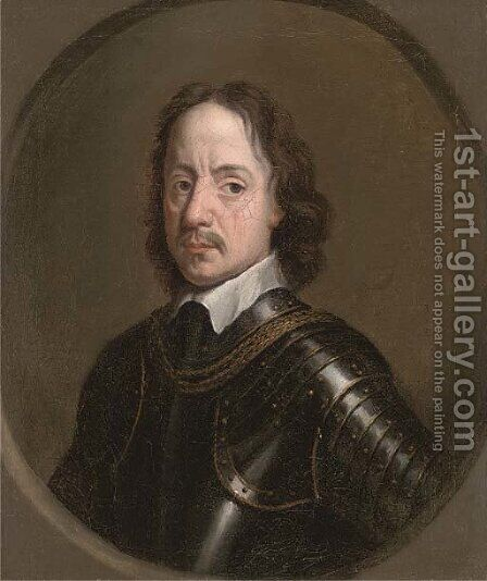Portrait of Oliver Cromwell (1599-1658), bust-length, in armour, feigned oval by (after) Robert Walker - Reproduction Oil Painting