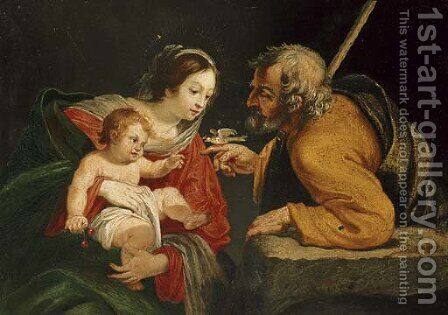 The Holy Family with a bird by (after) Simon Vouet - Reproduction Oil Painting
