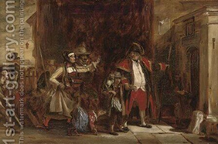 The town beadle arresting a group of players by (after) Sir David Wilkie - Reproduction Oil Painting