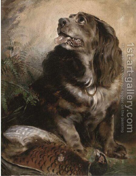A spaniel with his trophy by (after) Sir Edwin Henry Landseer - Reproduction Oil Painting