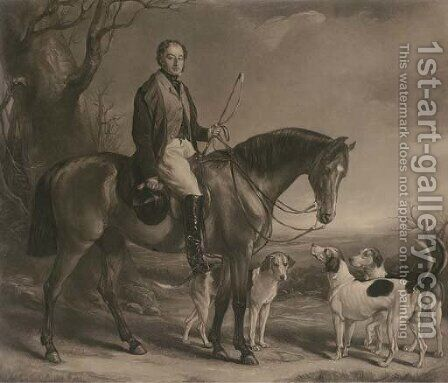 Henry Lascelles, 3rd Earl of Harewood (1797-1857), on horseback with his hounds, by George Raphael Ward by (after) Sir Francis Grant - Reproduction Oil Painting