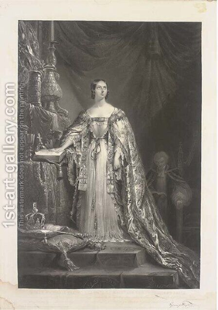 Queen Victoria taking the oath to maintain the Protestant faith by (after) Sir George Hayter - Reproduction Oil Painting