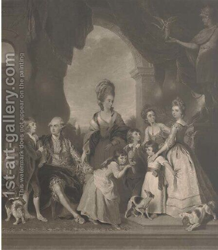 George Duke of Marlborough, and Family, by Charles Turner by (after) Sir Joshua Reynolds - Reproduction Oil Painting