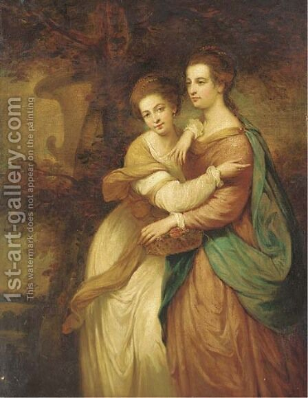 Portrait of Miss Emma and Miss Elizabeth Crewe by (after) Sir Joshua Reynolds - Reproduction Oil Painting