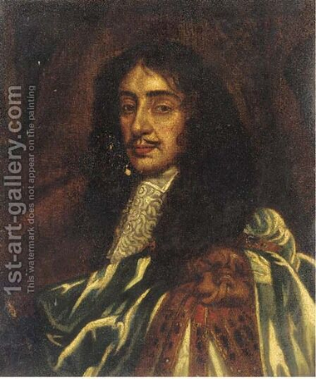 King Charles II, bust-length, in garter robes by (after) Sir Peter Lely - Reproduction Oil Painting