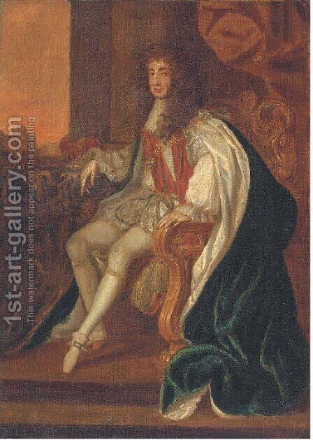 Portrait of King Charles II (1630-1685), small full-length, in coronation robes by (after) Sir Peter Lely - Reproduction Oil Painting