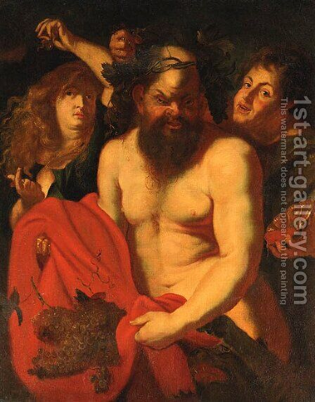 Drunken Silenus Attended By Bacchantes by (after) Sir Peter Paul Rubens - Reproduction Oil Painting