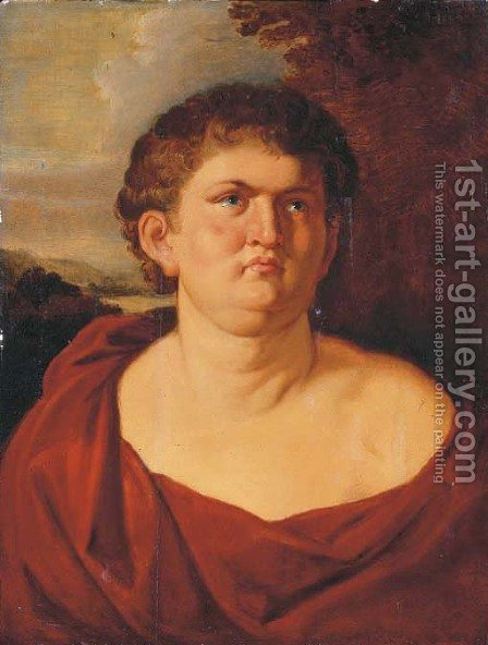 Portrait of Emperor Nero, half-length, in a red toga, a landscape beyond by (after) Sir Peter Paul Rubens - Reproduction Oil Painting