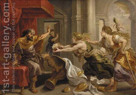 Tereus being presented with the head of his Son Itys by (after) Sir Peter Paul Rubens - Reproduction Oil Painting