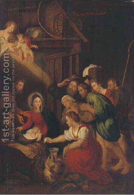 The Adoration of the Shepherds 2 by (after) Sir Peter Paul Rubens - Reproduction Oil Painting