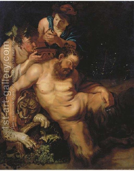 The Drunken Silenus attended by Bacchantes by (after) Sir Peter Paul Rubens - Reproduction Oil Painting